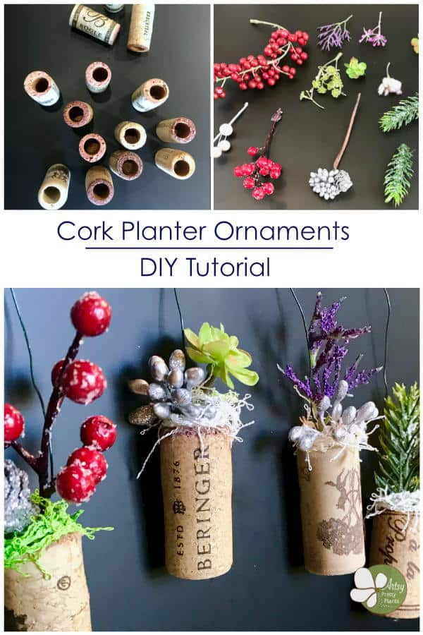 corks with artificial plants hanging and hollow corks