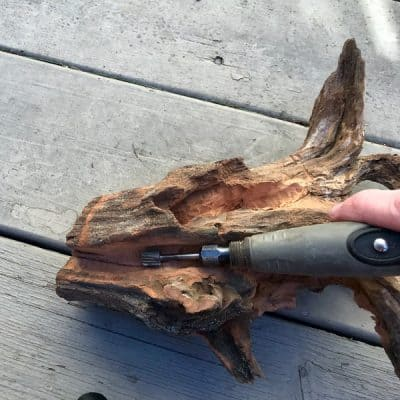 carving driftwood planter