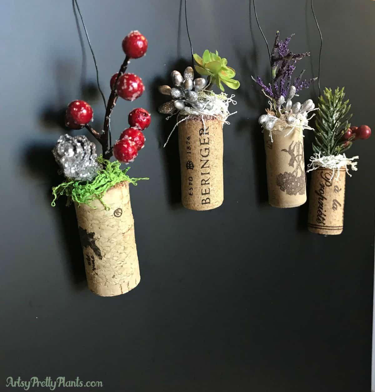 DIY Wine Cork Artificial Planter Ornaments
