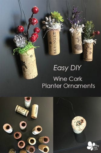 Wine corks holding artificial flowers as ornaments