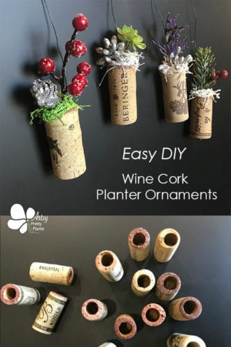 wine corks with artificial plants