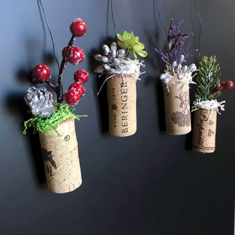 Wine Cork Planter Ornaments green and silver hanging