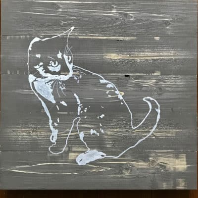 Lucy the Cat DIY wood painting