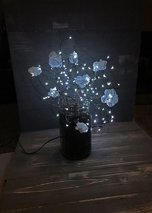 Luminescent fabric flower lamp | DIY