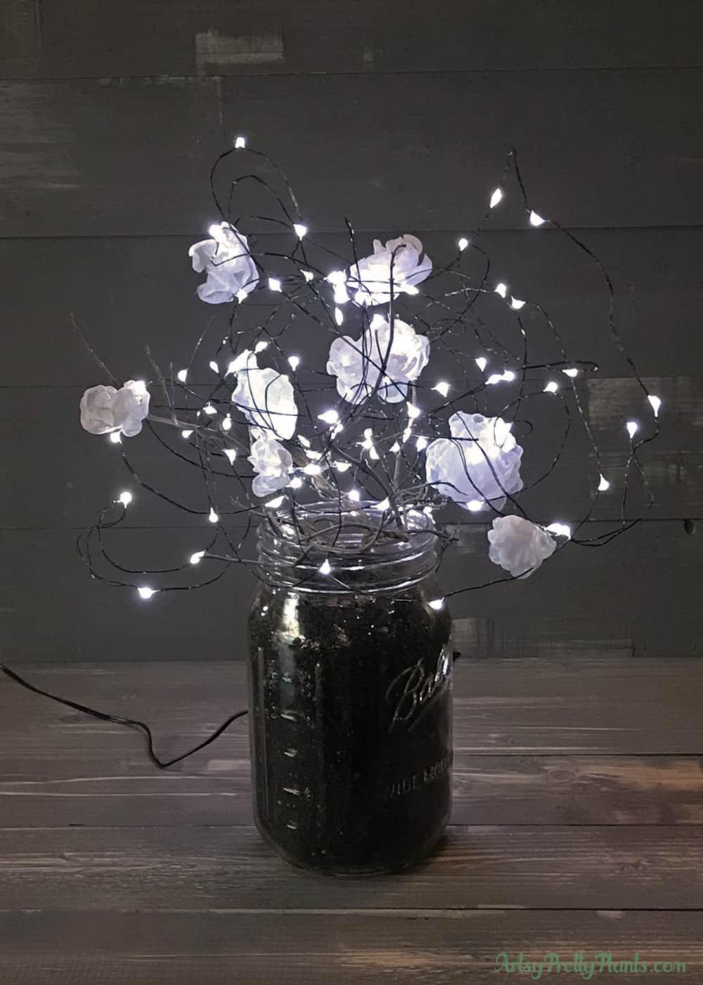 illuminated fabric flower lamp with mason jar