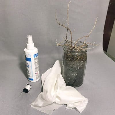 fabric stiffener, needle, thread, organza, mason jar, branches and filler