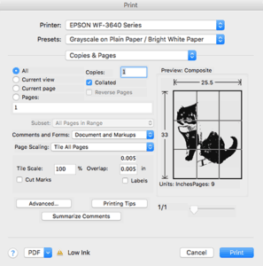 "Screenshot of ""Print to tile"" for large images"