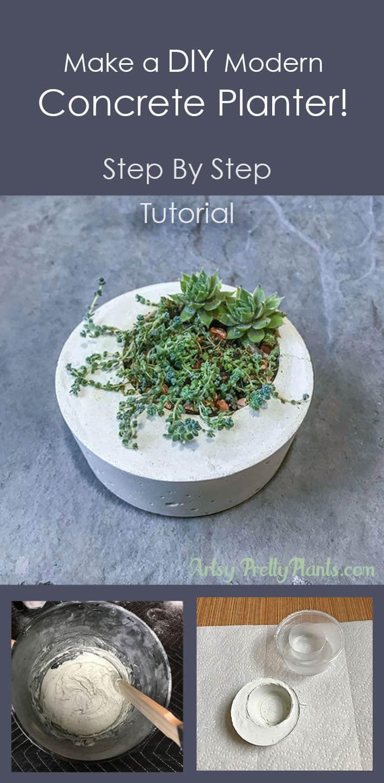 DIY tutorial for concrete planter