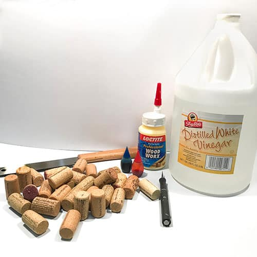 materials for wine cork heart- wine cork, glues, dye