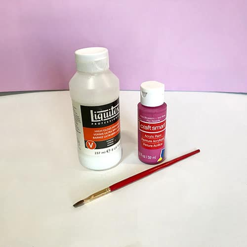 Liquitex varnish and acrylic craft paint and brush