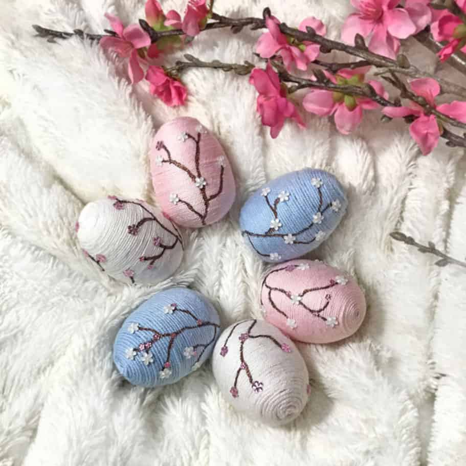 DIY Easter eggs decorated with cherry blossoms