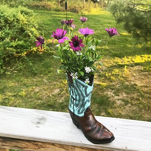 Repurposed Cowboy Boot Planter with flowers