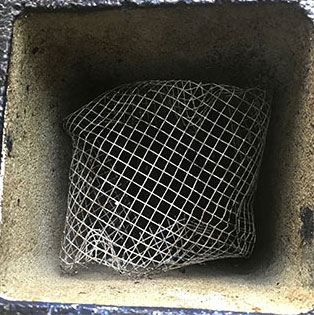 mesh inside cinder block