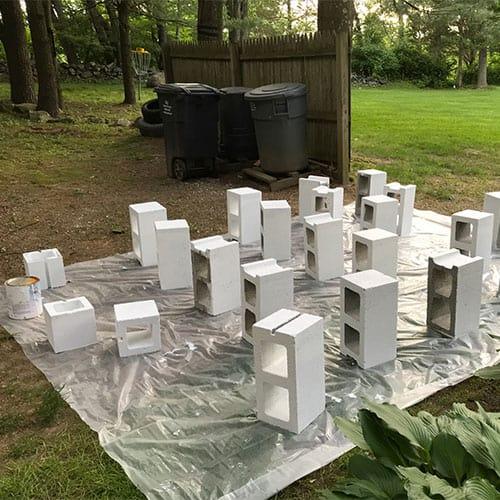 priming cinder blocks for planter