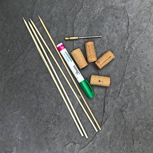 materials for DIY cork garden labels
