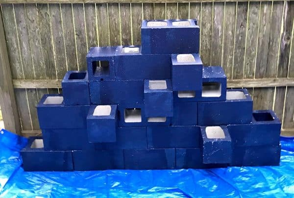 paining a cinder block planters wall
