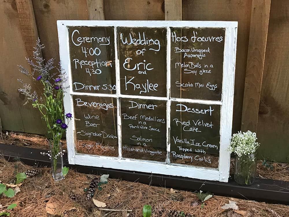 DIY Wedding Window Menu