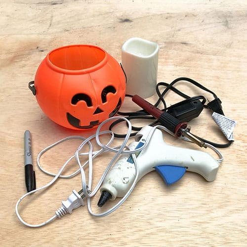 materials for diy cement jack o' lantern
