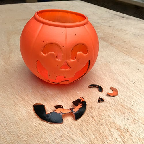 remove face of diy cement jack o' lantern