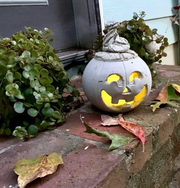 diy cement pumpkin lit with plants