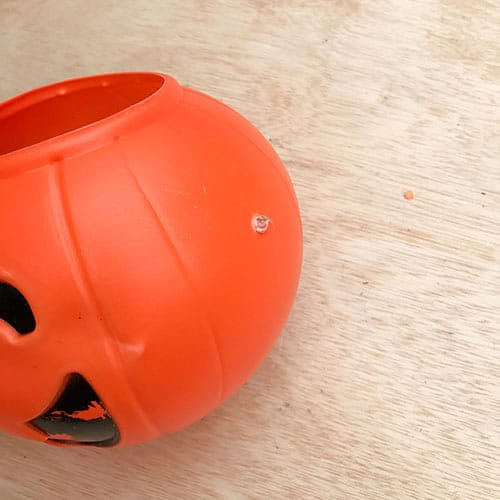 diy cement pumpkin glue in hole