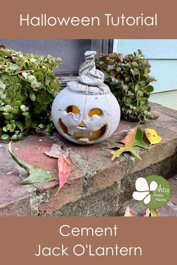 diy cement jack o lantern on steps