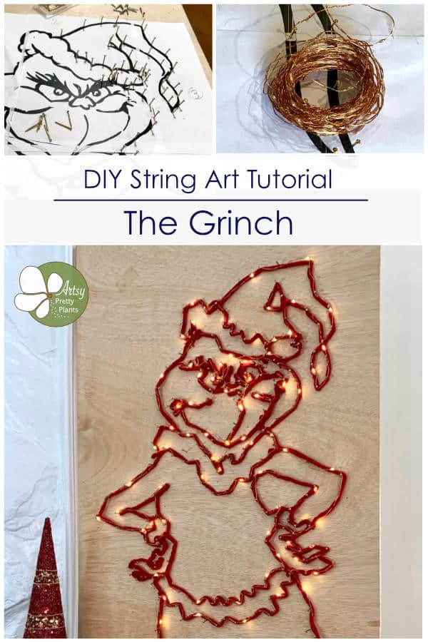 Grinch plywood with grinch shape, string and lights