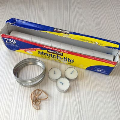 Materials for plastic wrap cement tealight holders