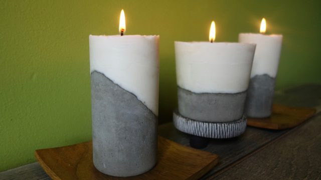 Cement and wax candle gift as DIY gifts