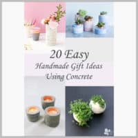 collage of handmade concrete gifts