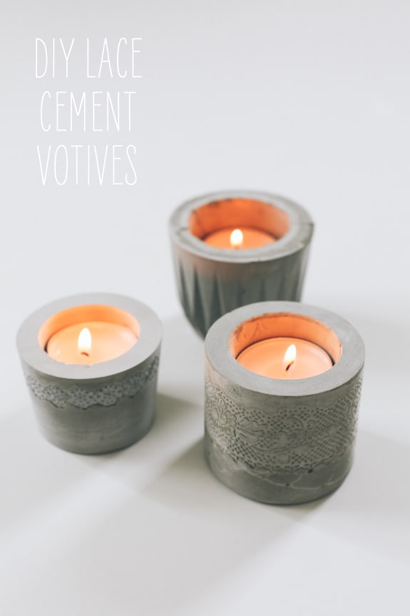 Lace & cement votive