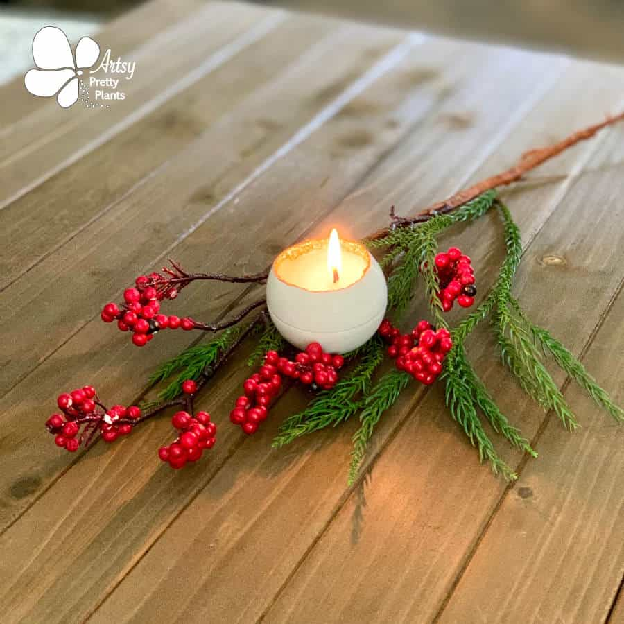 candle on wood with berries and branch