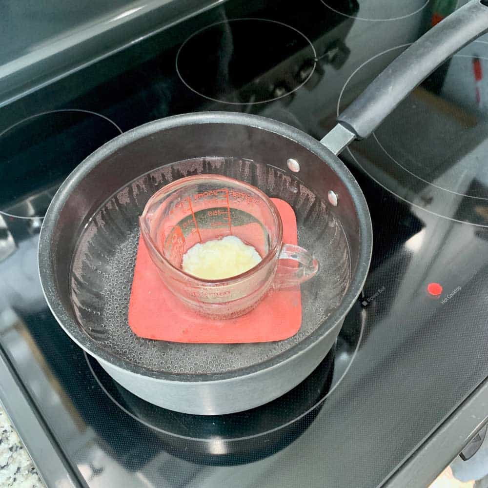 wax melting in pan