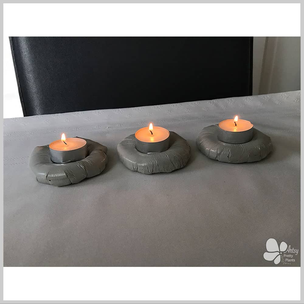 3 cement candle holders
