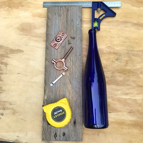 wine bottle with wood and all hardware needed