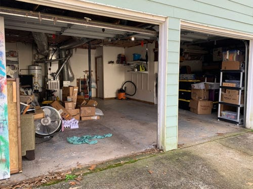 Garage with boxes