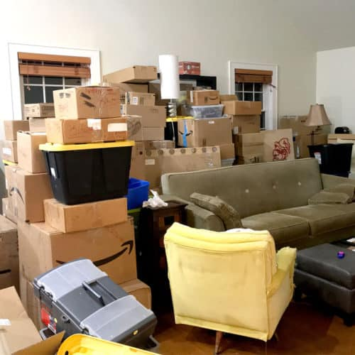 Moving boxes from our old place.