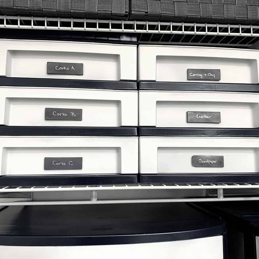 finished painted plastic drawers with concrete labels