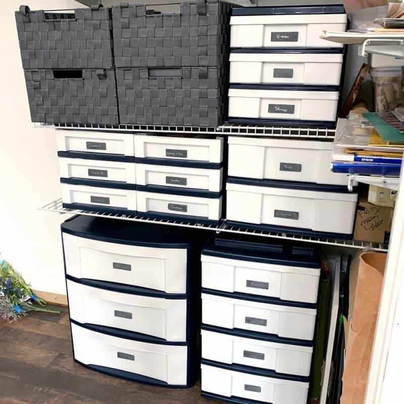different angle of plastic storage drawers that have been painted