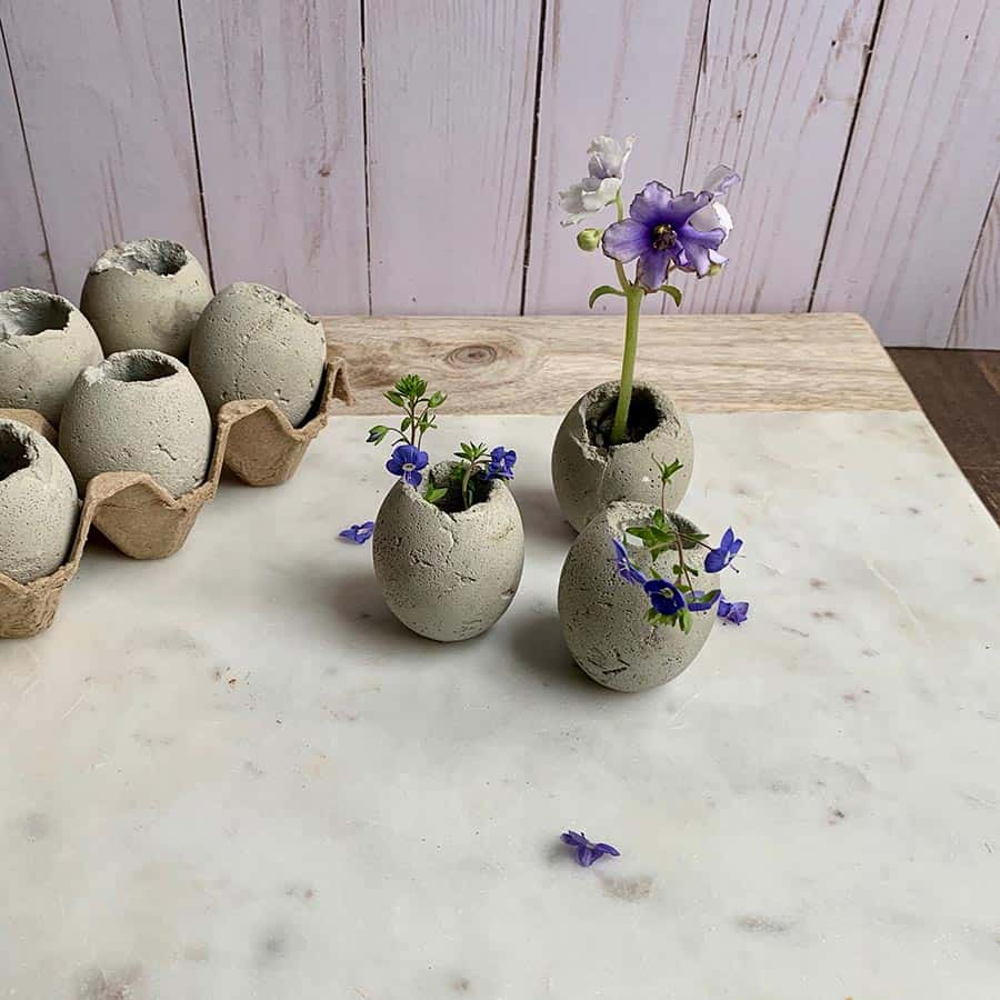 Cement Egg Planters For Easter