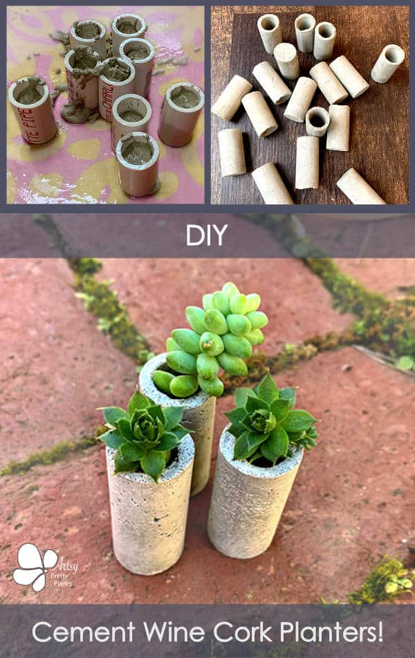 concrete wine cork planters tutorial