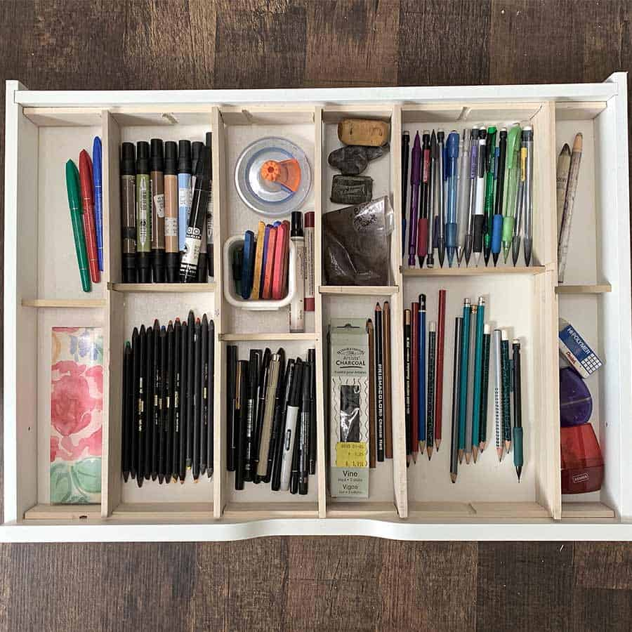 craft materials in wood drawer dividers