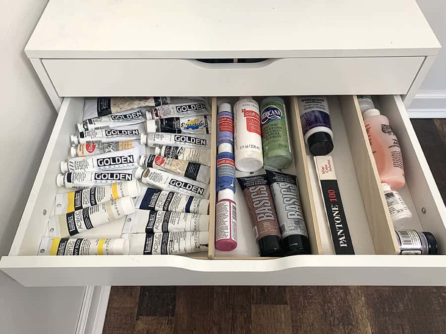 organized wood drawer dividers with paints