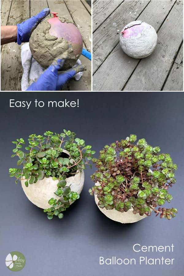 DIY cement balloon planter tutorial