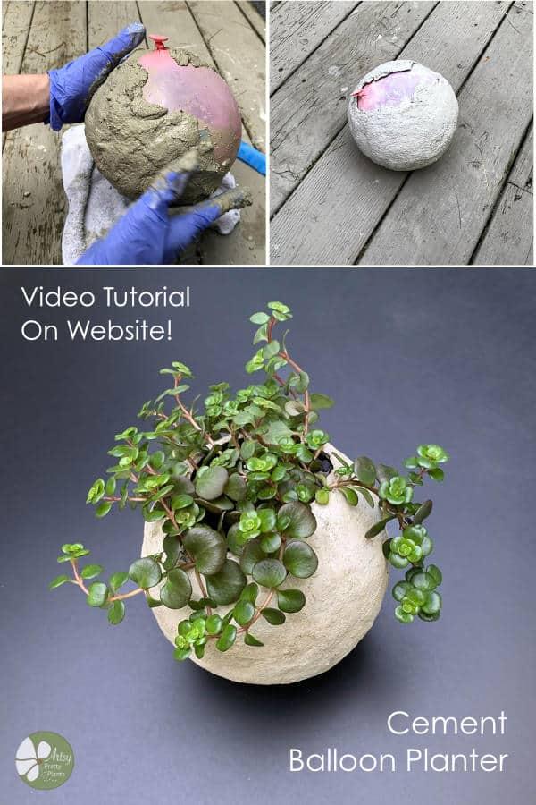 DIY cement balloon planter video tutorial