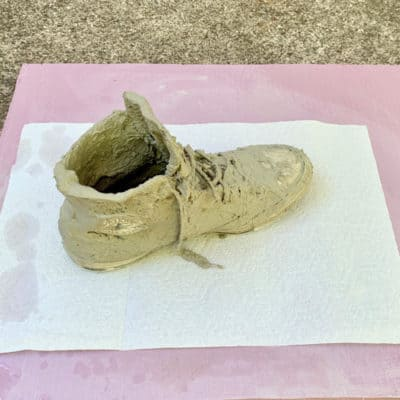 sneaker coated in cement