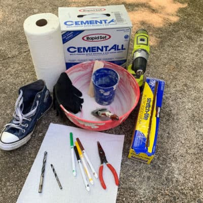 materials for cement sneaker planter