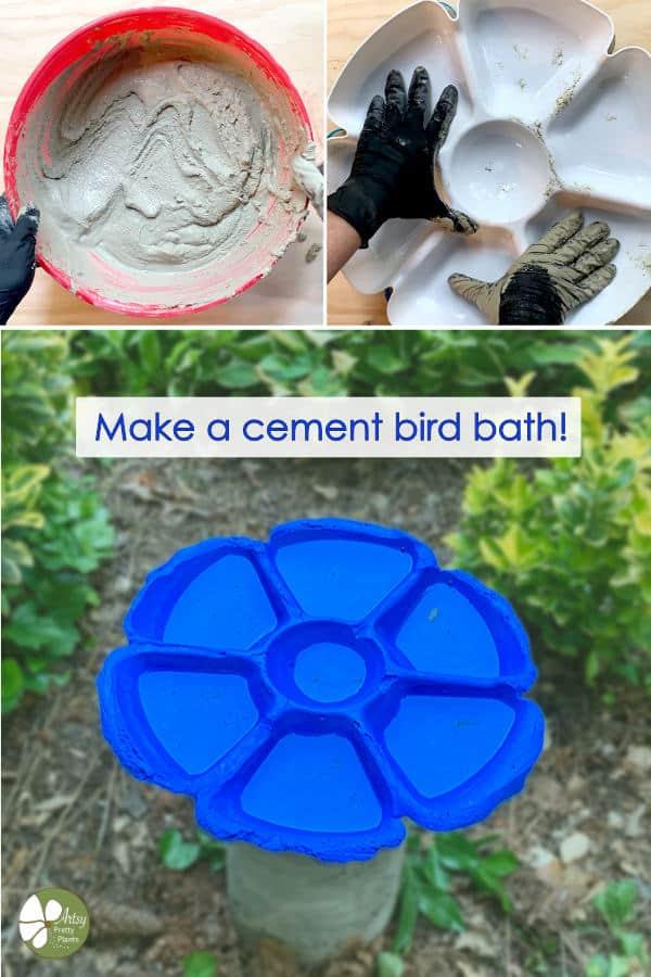 steps for cement bird bath