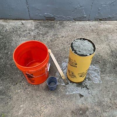 poured concrete in tube