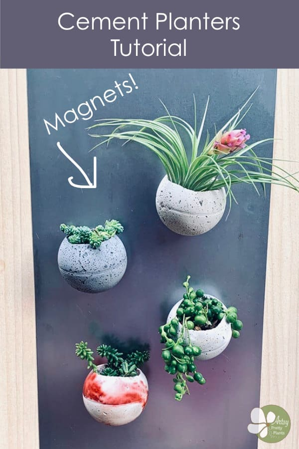 Cement planters with magnets
